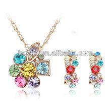 Невеста любимый красочный кристалл алмаз свадьбы набор ювелирных изделий
