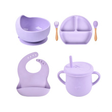 Suction Bpa Free Printed Logo Waterproof Toddler Silicone Plate And Spoon Babi Bowl Bib Kids Dishes Silcione Baby Feeding Set
