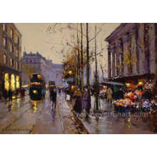 Pintura pintada a mano verdadera de las escenas de París
