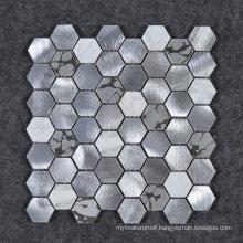 Hot Sale Japanese Style Hexagon Marble Stone Mix Metallic Mosaic