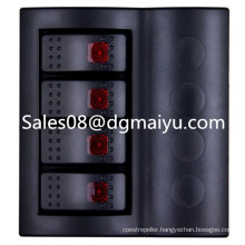 Caravan Combined Automotive Switch 4 Gang Rocker Switch Panel with Red LED