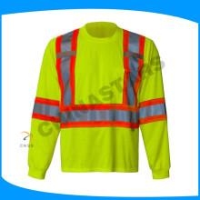 100% coton salut viz shirt chemises fluorescentes jaunes réfléchissantes avec ruban gris