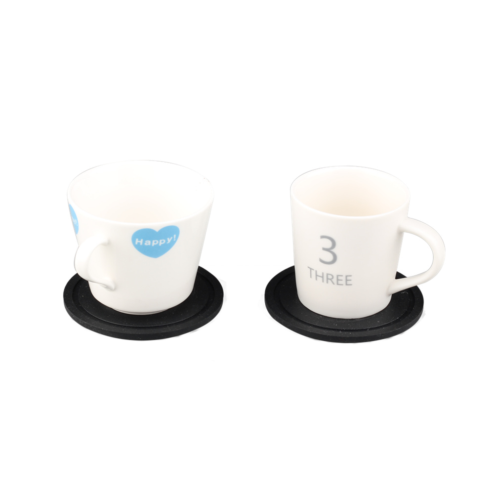 Stainless Steel Holder With Black Drink Silicone Coaster Set