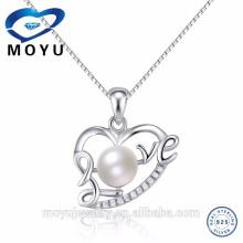 2015 al por mayor de moda perla natural colgantes de plata esterlina