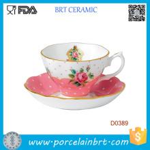 New Country Rose Tasse en céramique et soucoupe en céramique couleur unie Vintage
