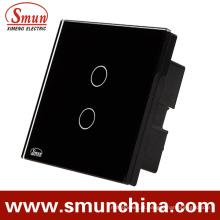 Interruptor do toque da parede de 2 grupos, ABS de controle remoto do interruptor 1500W à prova de fogo