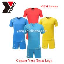 Personalizado seu logotipo atacado top quality soccer jersey uniforme de futebol em branco kit