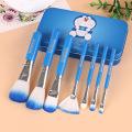 7PCS kosmetischer Bürsten-Satz mit nettem blauem Doraemon Metallkasten-Kasten