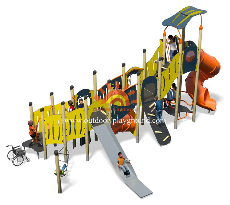 outdoor mutiplay structure playground plastic slide structure