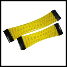 Chicote de fios do fio do cabo do amarelo 24pin Sleeved do indivíduo 30cm