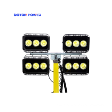 Generador de torre de luz LED telescópica para exteriores montada en camión