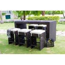 Poly Rattan Bar Set para el jardín al aire libre Uso Muebles de mimbre
