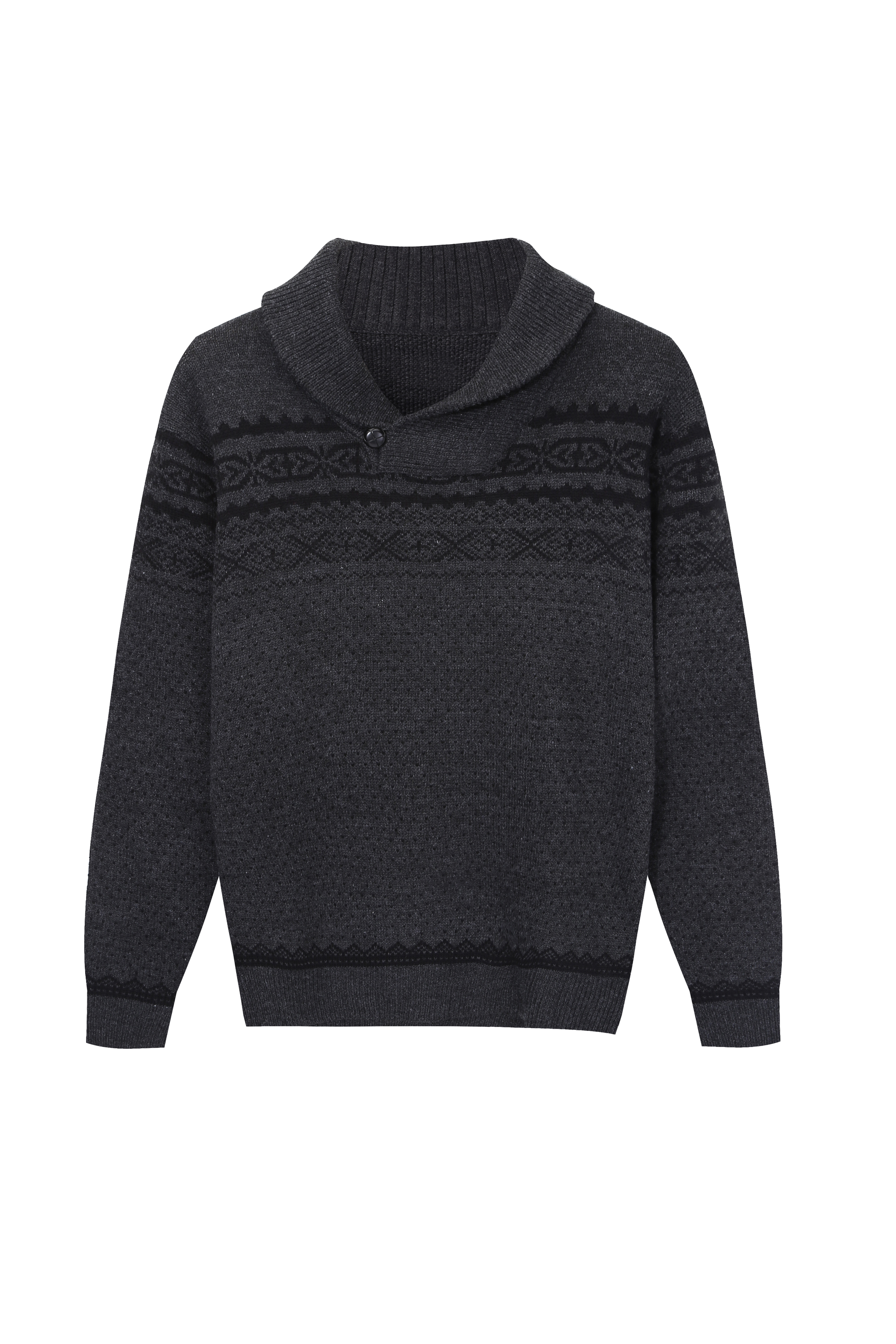 Men's Fashion Shawl Collar Pullover Jacquard Knitwear