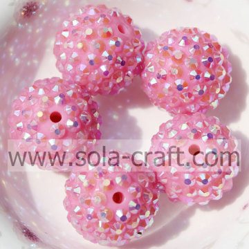 Pink AB 20*22MM Solid Resin Rhinestone Loose Beads DIY Jewelry Accessories
