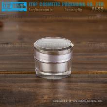 YJ-S5 5g devenda popular alta camadas claras duplo mini prata acrílico jar