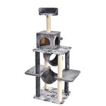 Sustainable Stocked China Factory Wholesale Multi-level Cat Toy Wood Cat Tree Tower