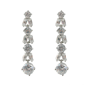 Lange CZ Stone Wedding Drop Oorbellen