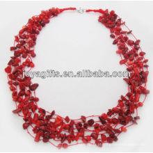 8Wire Knotted coral vermelho Chip colar com lagosta clasp colar interface