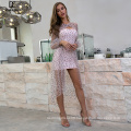 Weixin Womens Clothing Sexy Star Print Layered Puff Sleeve Chiffon Bodice Tube Wrap Bridesmaid Lace Party Dress