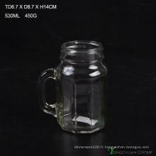 480ml Clear Strip with Handle Glass Mason Jars à vendre