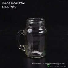 480ml Clear Strip with Handle Glass Mason Jars for Sale