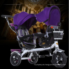 Good Selling Children Twin Tricycle with Two Seats