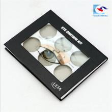 caixa de empacotamento da paleta cosmética personalizada da sombra com janela