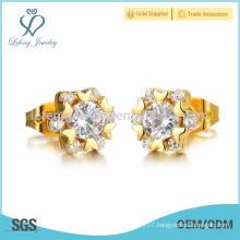 Women design love heart earrings,gold crystal stud earrings jewelry