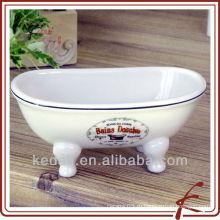 Белая глазурь Фарфоровая миниатюрная викторианская ванна