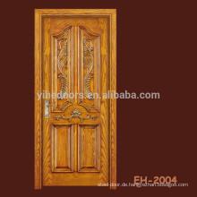 Fertigen Sie geschnitzte zusammengesetzte Tür furnierte Tür mit 4 Verkleidung und einem großen bolection an