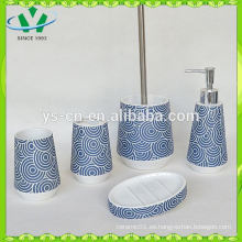 Accesorios de baño de efecto de parqué, juego de accesorios de baño de cerámica