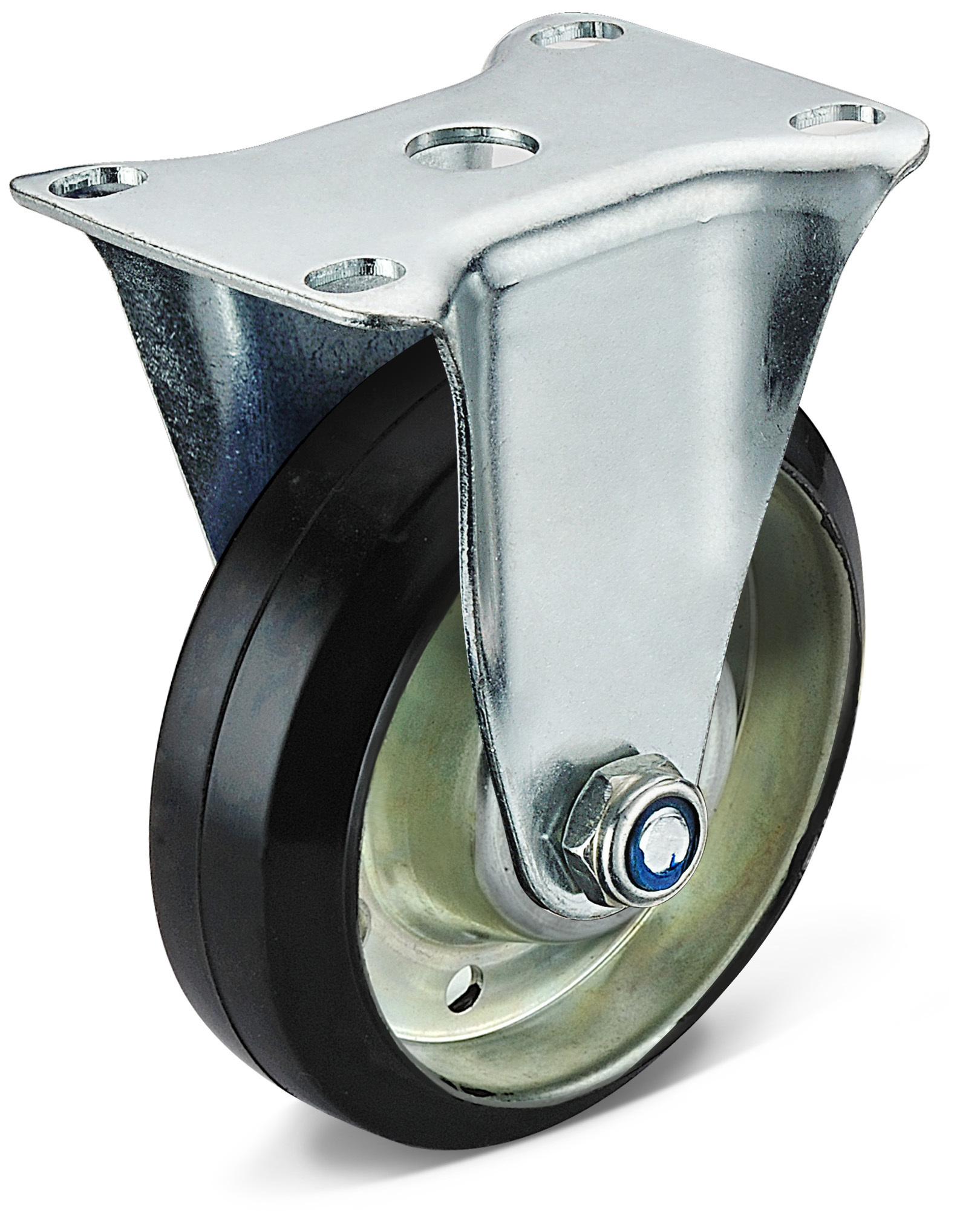 Black Rubber Flat Bottom Fixed Caster