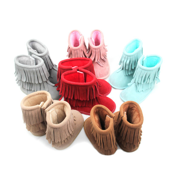 Various Color Genuine Leather Kid Moccasins Winter Boots