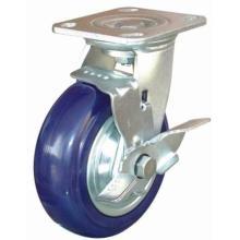 Rodízio de nylon de resistência giratória com travão lateral (azul)