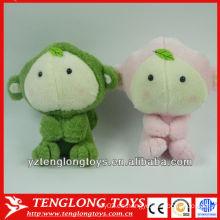 2014 nuevos juguetes del animal lindo de la felpa de los colores del diseño dos para el bebé