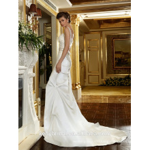 ZM16020 Duchess Satin A-line Bridal Gown With Crystal Embellishment Spaghetti Strap Wedding Bridal Dresses And 3D Flowers