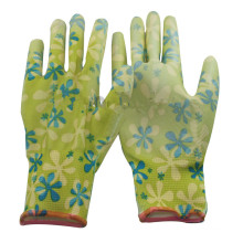NMSAFETY nitrile dotted polyester liner printed flower glove