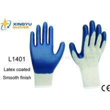 10g T / C Shell Látex guantes de trabajo de seguridad recubiertos (L1401)
