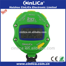 100 laps memory sports stopwatch with three-line LCD display