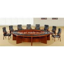 Table de conférence ronde antique de MDF de placage en bois de noix classique avec le bloc-notes