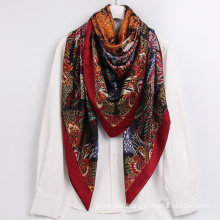 2021 New Arrival Large Size Floral Plant Pattern Shawl Digital Printed Ladies Silk Neck Scarf