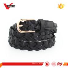 metal buckle braided pu belt
