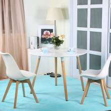 Nordic white solid beech wood round dining table
