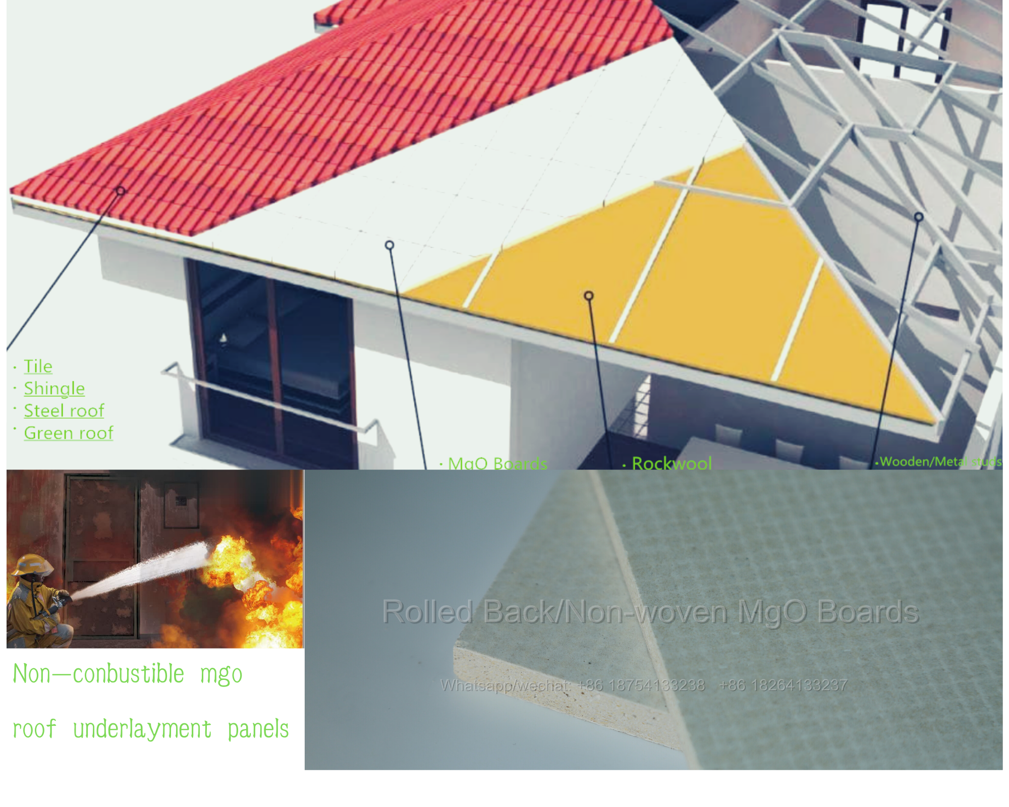 4 multiply 8 non-combustible insulated mgo roof deck
