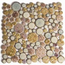 Latvia Classicism Style Decoration Glazed Ceramic Round Mosaic Tile