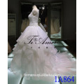 1A864 High Quality Princess Sleeveless Round Neck Lace Sequin Appliqued Organza Wedding Dress