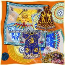 Estilo chino mano impreso seda satén cuadrado bufanda