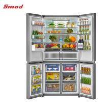 Réfrigérateur-congélateur multi-portes sans givre quatre portes côte à côte réfrigérateur