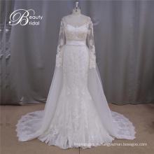 Длинный рукав съемный шлейф-Line свадебное платье