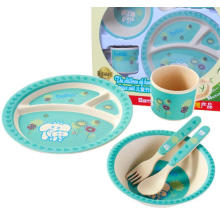 (BC-CS1075) Conjunto de utensílios de mesa de bambu para crianças